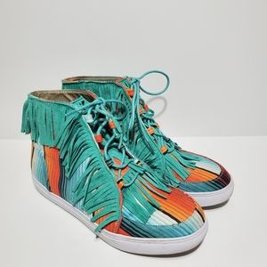 Crazy Train Fringe Serape High Top Shoes Size 8